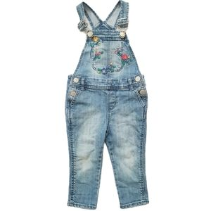 Baby Gap Floral Embroidered Overalls Bibs Dungaree